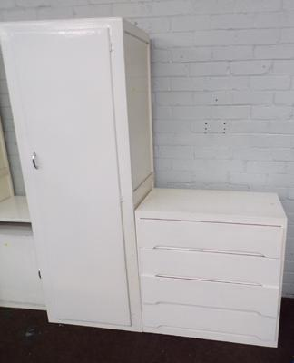 Tall painted cupboard & four drawer chest of drawers