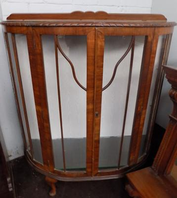 Art Deco bow front display cabinet (no key)