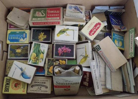 Tray of old matchboxes