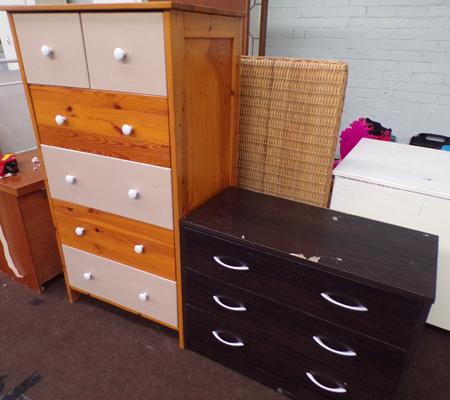 2 Over 4 pine drawers + 3 drawer chest