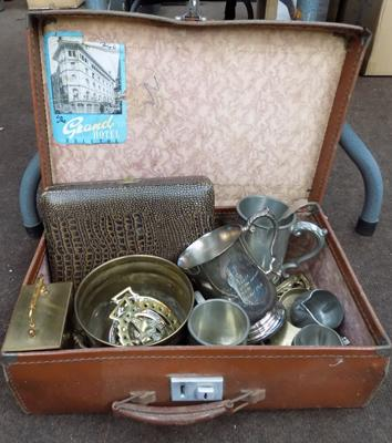 Vintage suitcase containing brass, EPNS etc...