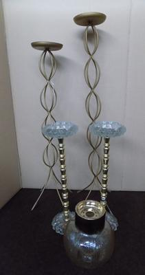 2 free standing vintage ashtrays with 2 candlesticks and vintage light fitting