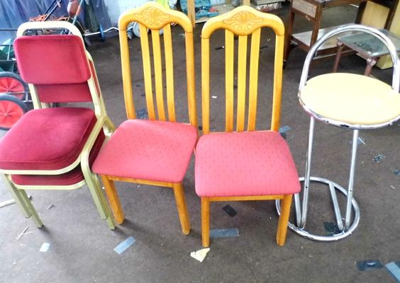 4 assorted chairs & a barstool