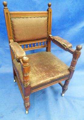 Leather on casters chair - vintage
