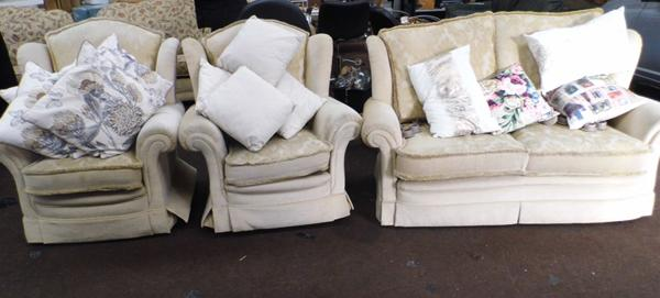 Two seater settee, recliner armchair & one other armchair, plus selection of cushions