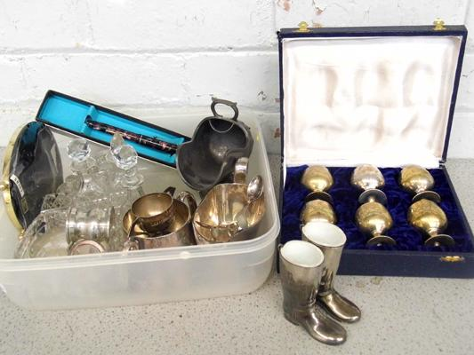 Selection of vintage items inc cut glass, EPNS, Art Deco Silver spoon & 9ct gold nibbed pen etc