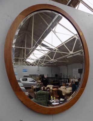 Oval bevel edged mirror - approx. 31 inches x 22 inches