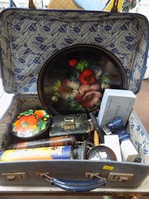 Vintage case containing antique and vintage items incl. jewellery, lighters, treen, Stratton compacts etc.