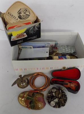 Box of collectables inc beer mats
