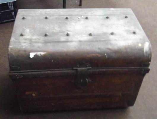 Large old metal trunk