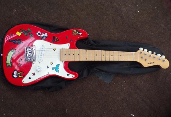 Child's 'Spider' electric guitar & bag