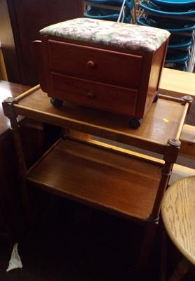 Wooden trolley & drawered foot rest