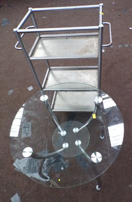 Circular glass side table & chrome trolley