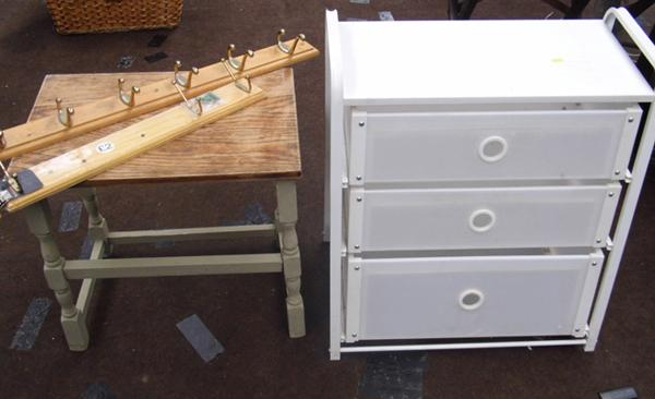 Drawers, side table and coat hooks