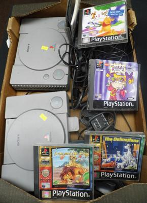 2 x PS1s with games leads & controllers