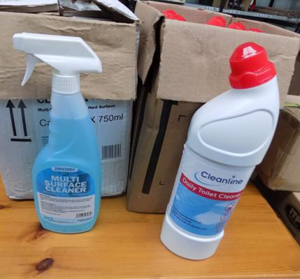 Six bottles of all purpose cleaner & six bottles of toilet cleaner