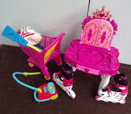 Selection of kids toys inc dressing table & inline roller blades