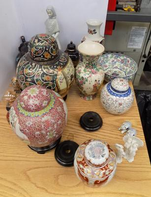 Large box of mixed ceramics + pottery, incl. oriental items