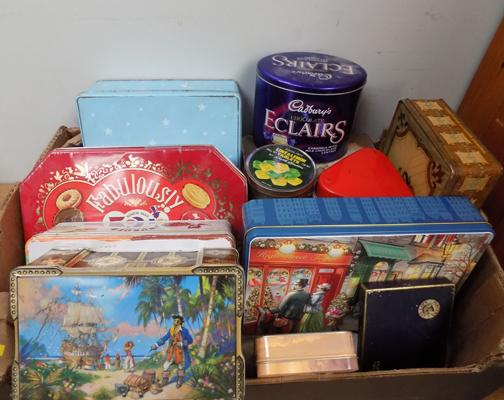 Large selection of vintage tins