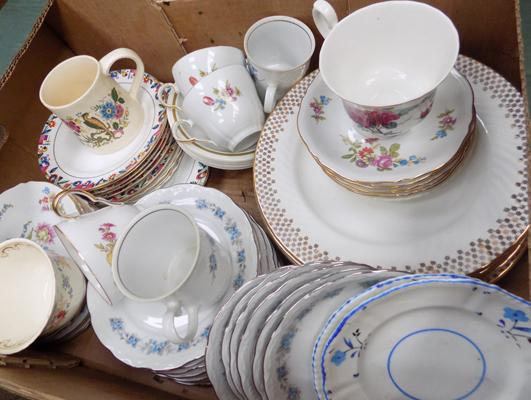 Large selection of vintage plates, saucers & cups
