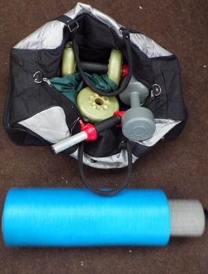 Selection of weights, bars and pro fitness roller