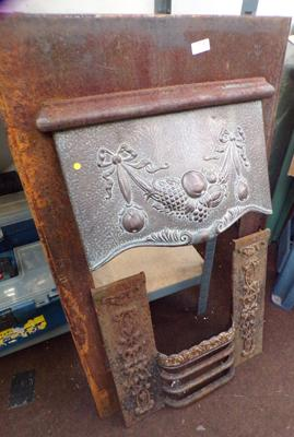 Early 1900's fire insert with brass canopy