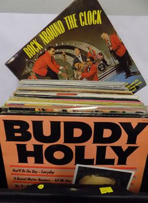 70 vinyl LPs, Buddy Holly, Bill Haley, some white labels