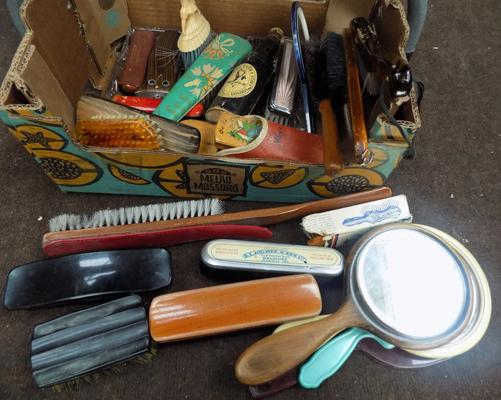 Selection of vintage clothes brushes & mirrors