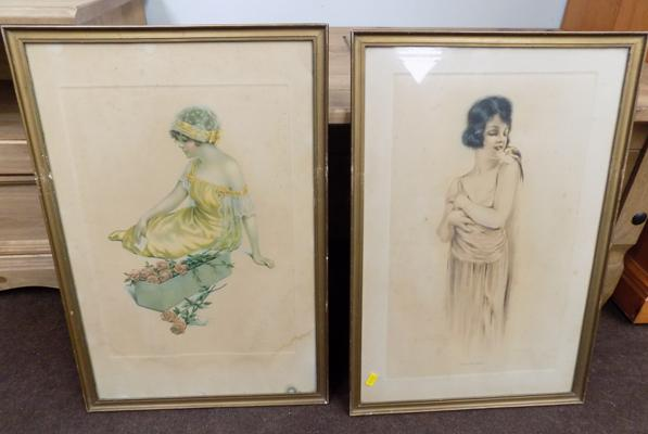 Two framed vintage prints - approx. 22 inches x 15 inches
