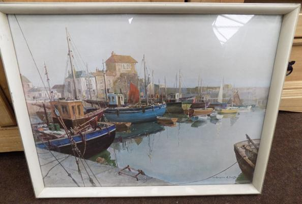 Harbour scene by Vernon Ward, oil on canvas