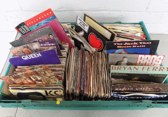 "Large box of 7"" singles"