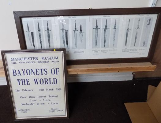 Framed original Manchester museum 1960's advertising poster and framed bayonet pictures
