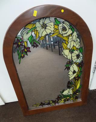 "Large framed stained glass mirror - 24"" x 19"""