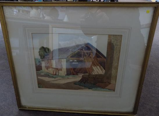 Framed watercolour signed by artist
