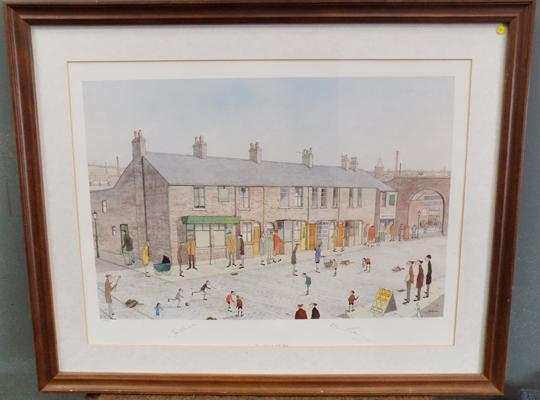 Coronation Street framed print, signed by artist G.W.Birks and 2 cast members