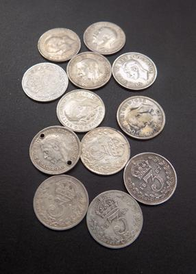 Collection of 12 silver sixpences