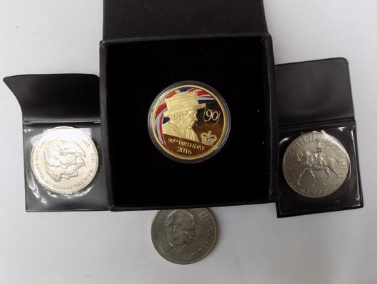 4x Commemorative coins inc 2016 90th Birthday gold plated coin