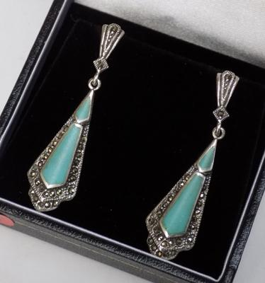 Pair of silver turquoise & marcasite earrings