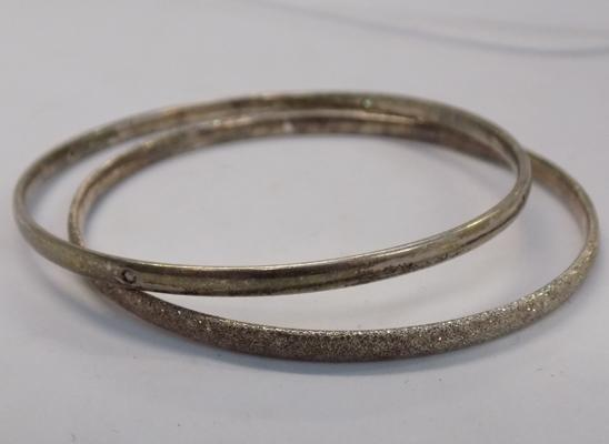 2 x solid 925 silver bangles