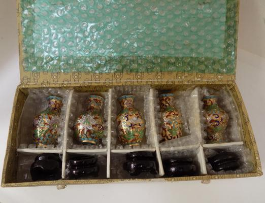 Set of 5 cloisonne vases with wooden stands