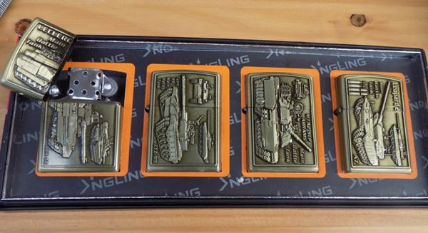 4 x New oil lighters with Military tank design-in box
