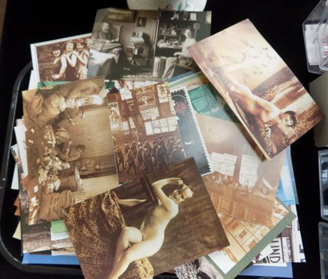 Tray of postcards-some nudes