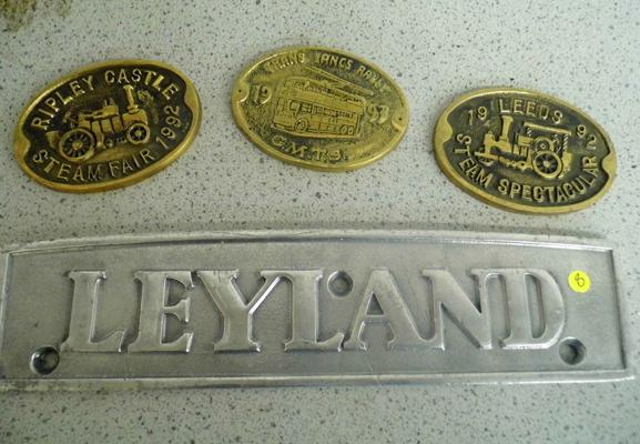 Selection of metal plaques, incl. Leyland
