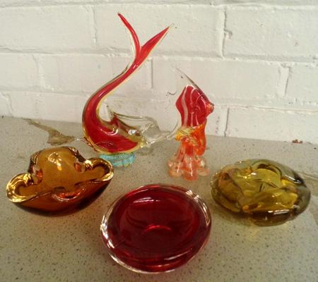 Collection of coloured glass items