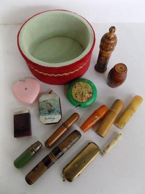 Box of vintage sewing accessories, needle cases etc...
