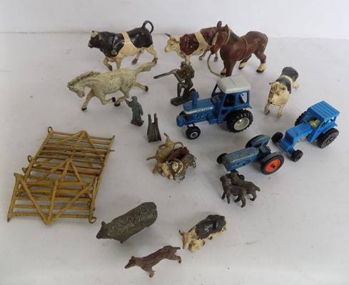 Collection of 1950's Britains farm series, animals, accessories and 3 tractors