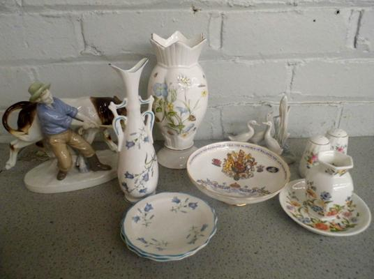 Selection of named pottery, incl. Aynsley, Minton, Nao
