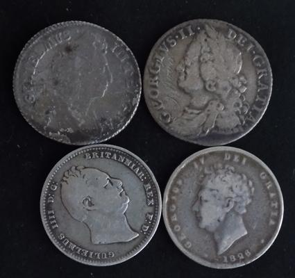 4 x silver shilling coins 1698 - 1836