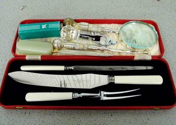 Selection of mixed items incl. carving set and letter opener