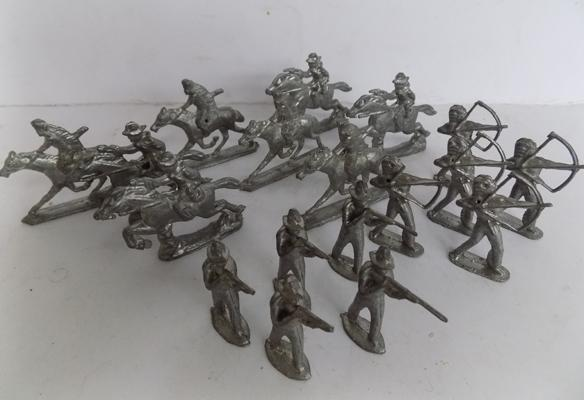 "Collection of metal Cowboys and Indians - 2 1/2"" high"